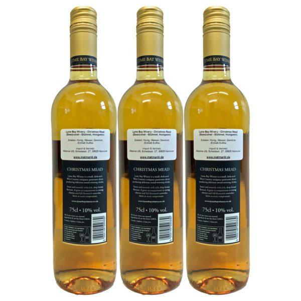 Glühmet Christmas Mead Rueckseite 3 Flaschen   Heisser Honigwein
