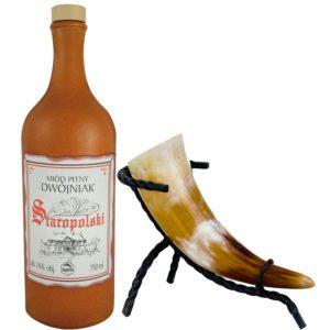 Husaren Met Set | Polnischer Honigwein mit Trinkhorn und Trinkhornständer