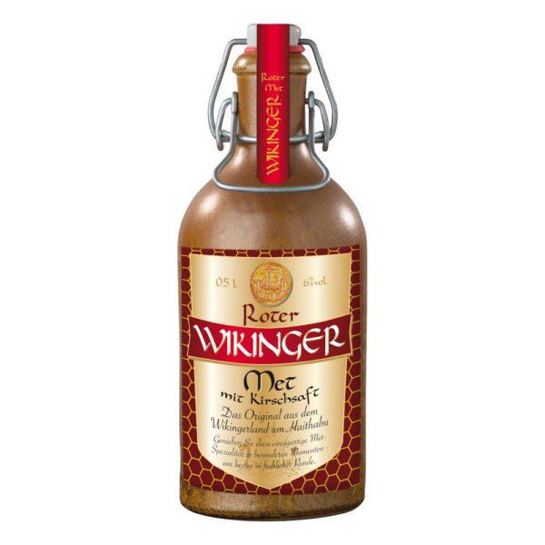 Roter Wikinger Met in Tonflasche | Wikingerblut aus Haithabu | Honigwein mit Kirsche